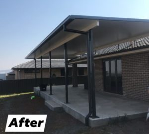Fly over roof, Outdoor Project, Alfresco, Tamworth patio builders, By Design Outdoor Projects,